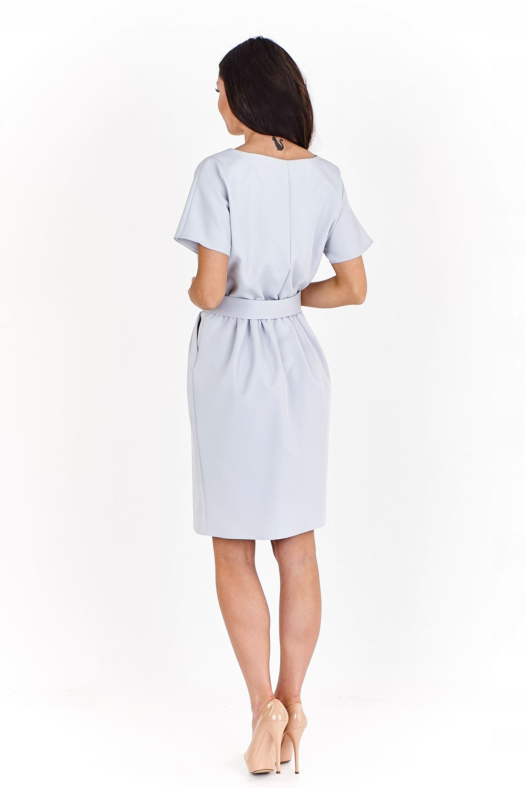 272b06e484 Pudełkowa sukienka z krótkim rękawem Szary 34 - 7452003519 ...