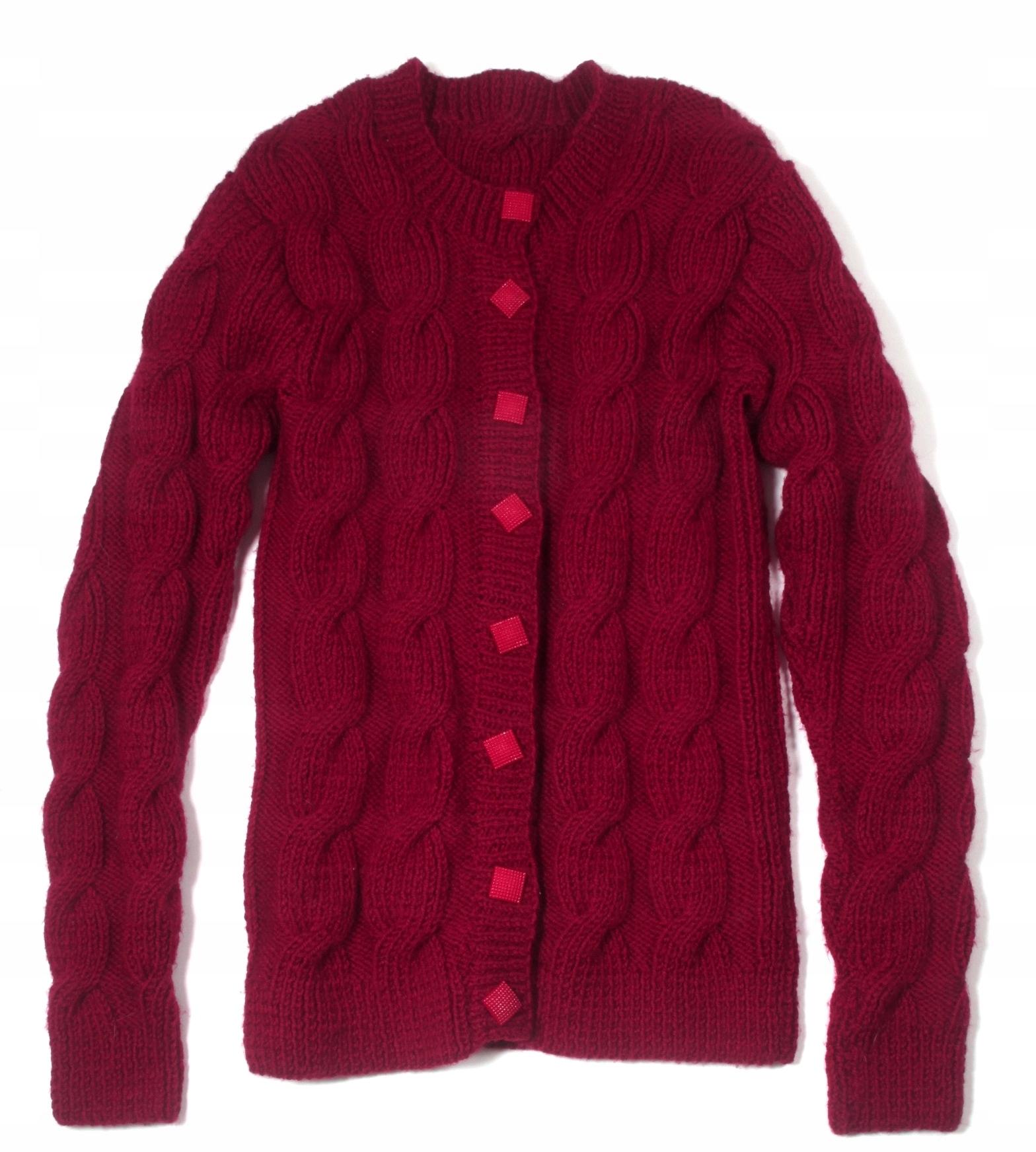 HAND MADE sweter w warkocze BORDO S/M