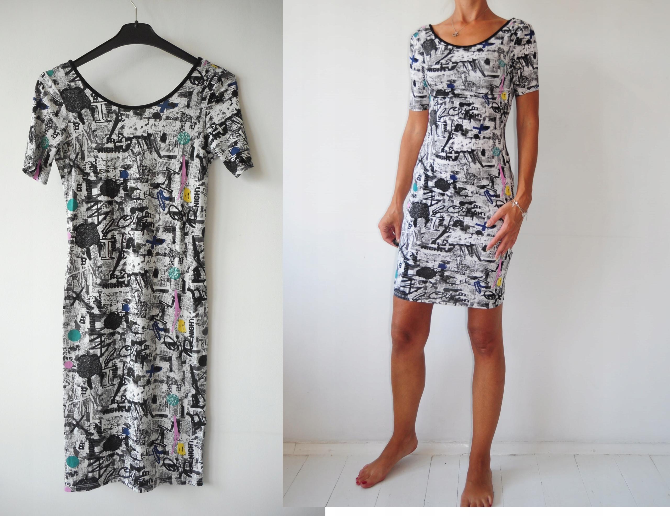 32672e3062 36 - Topshop sukienka biała w napisy wzorki - 7486951524 - oficjalne ...