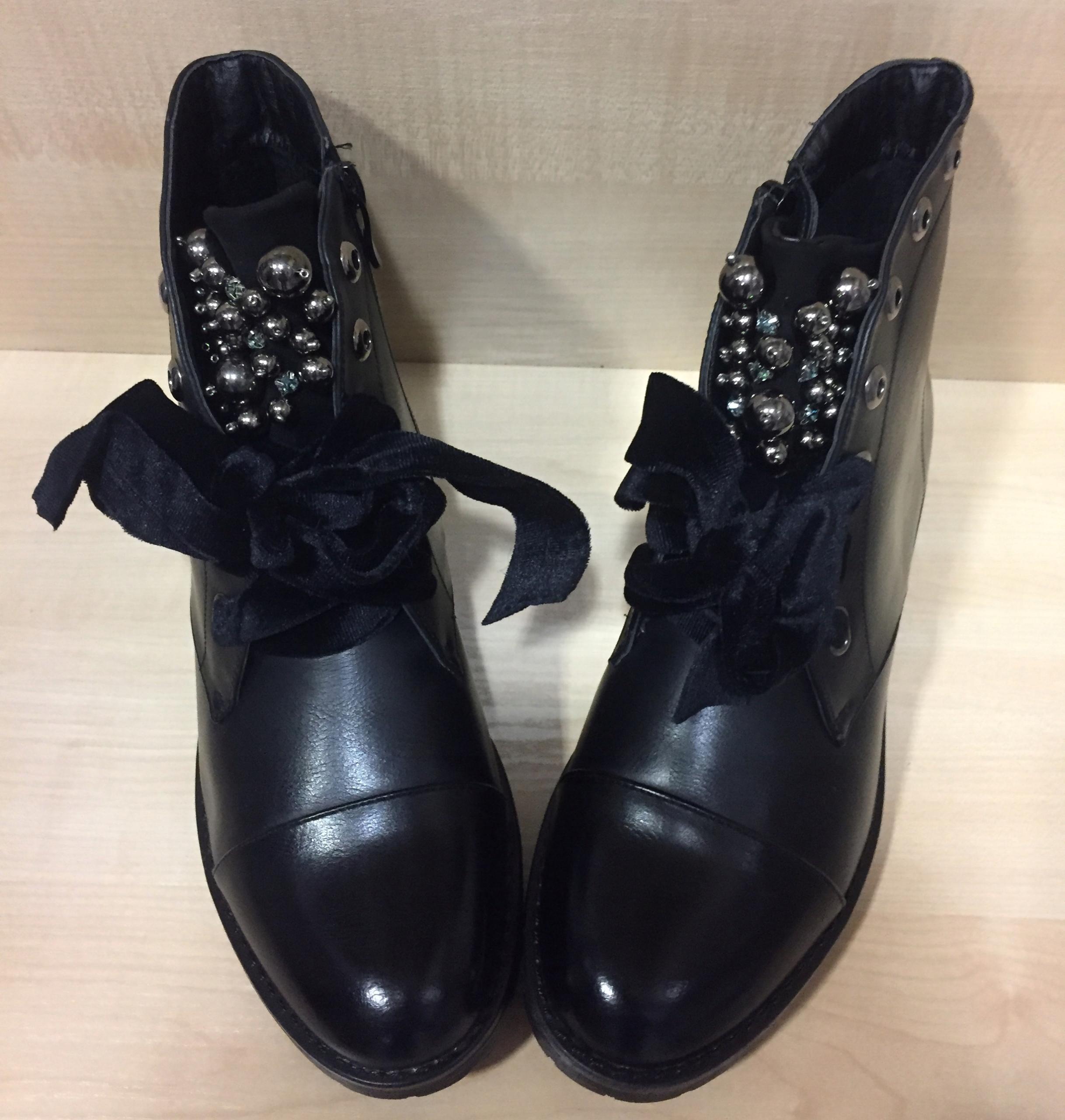 a2c8274dd67ea Luksusowe Botki czarne z perełkami zdobione 39 - 7640014885 ...