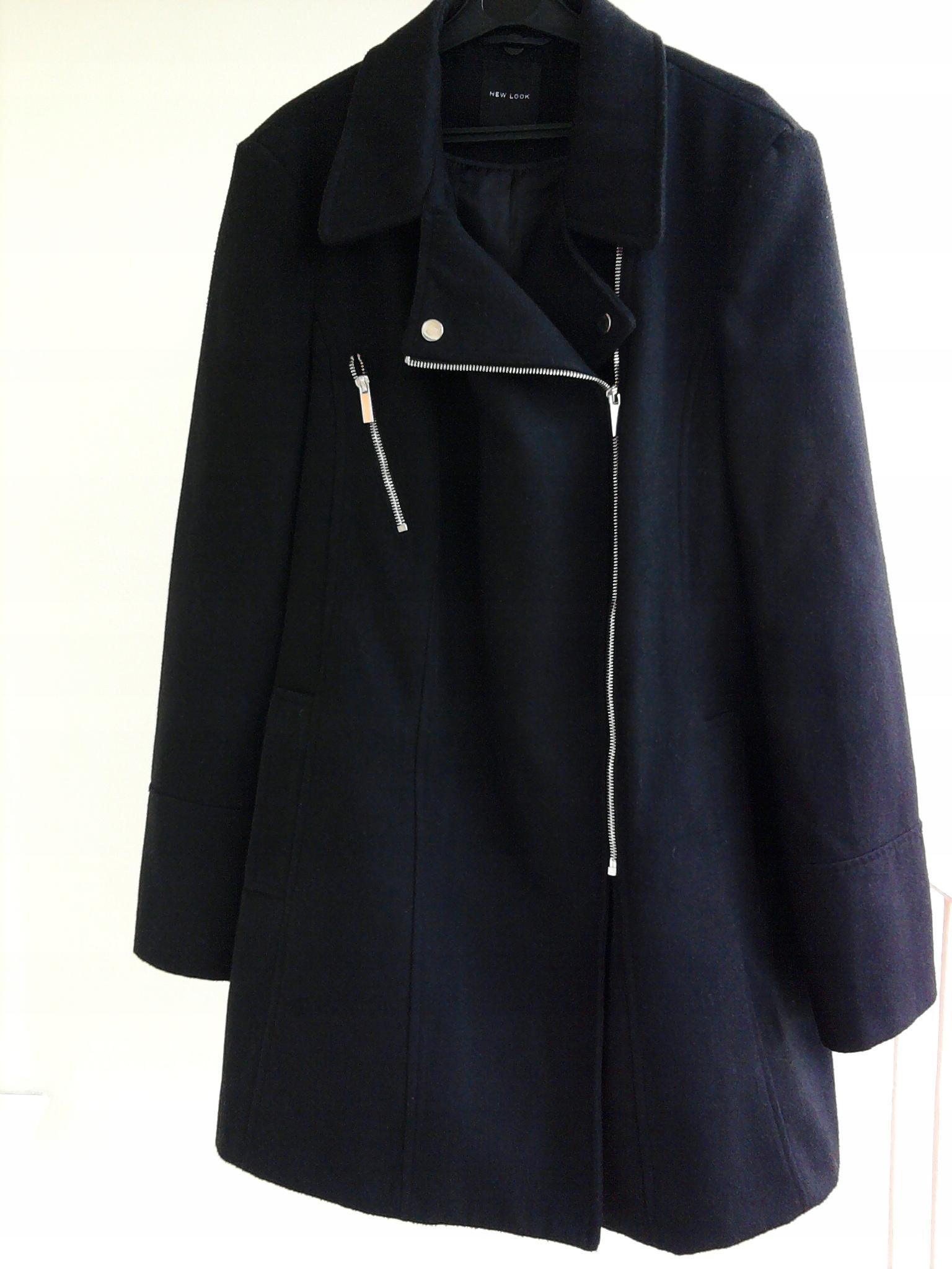 Płaszcz ciepły Czarny ZARA XS S M BEZ ZAPIĘCIA