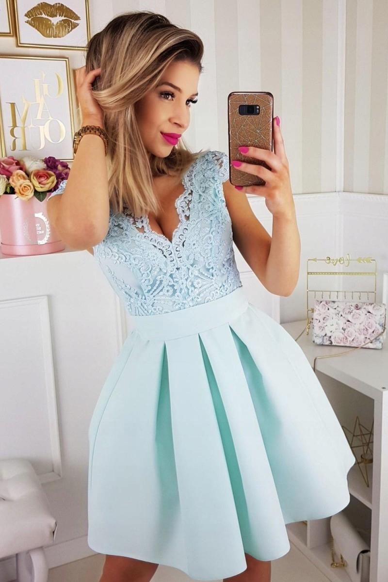 32c028e7b8 jokastyl śliczna miętowa sukienka koronka M L 38 4 - 7424571974 ...
