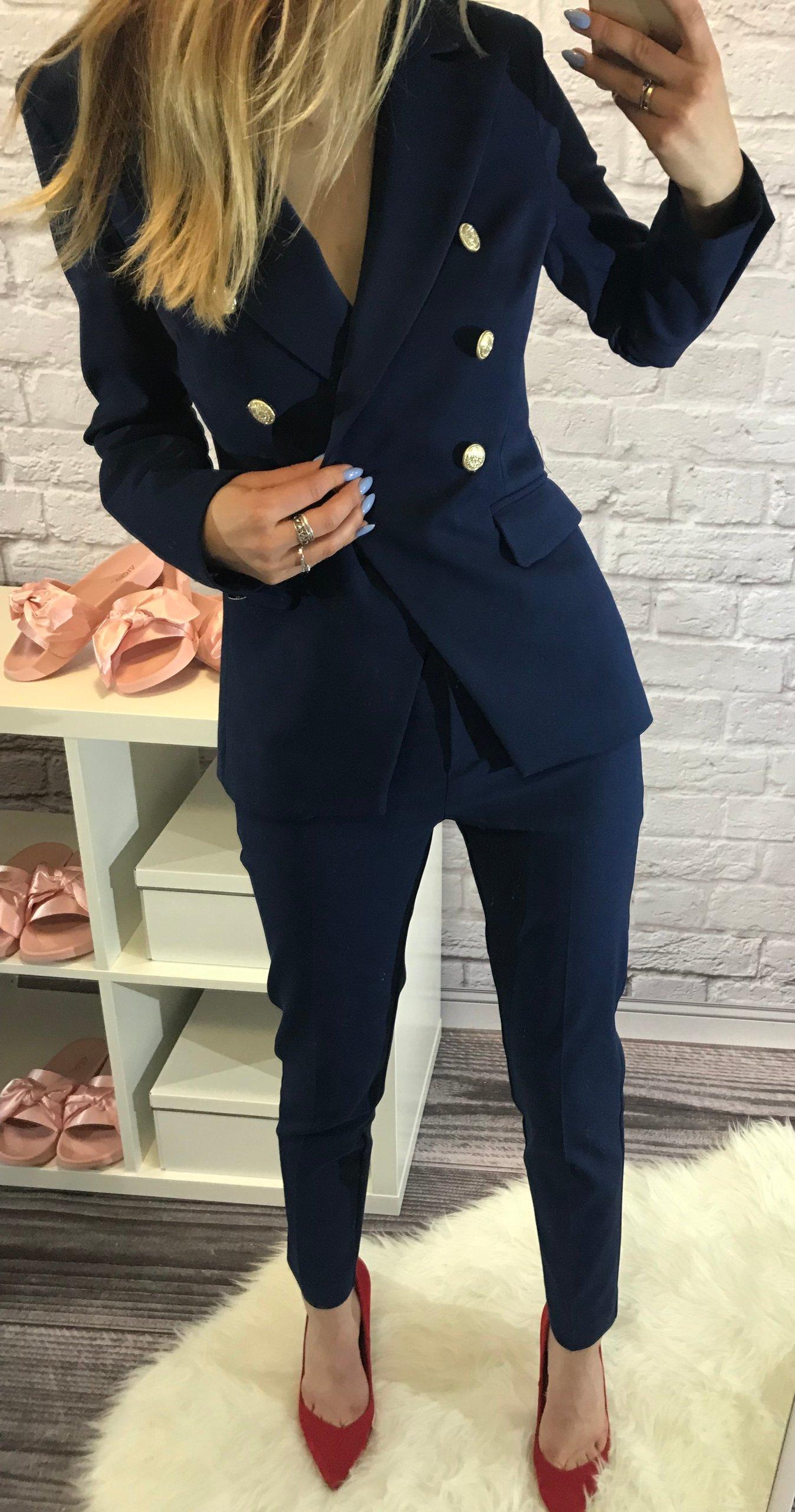 9f72c69e19 GARNITUR damski komplet MARYNARKA spodnie XL 42 - 7286251812 ...