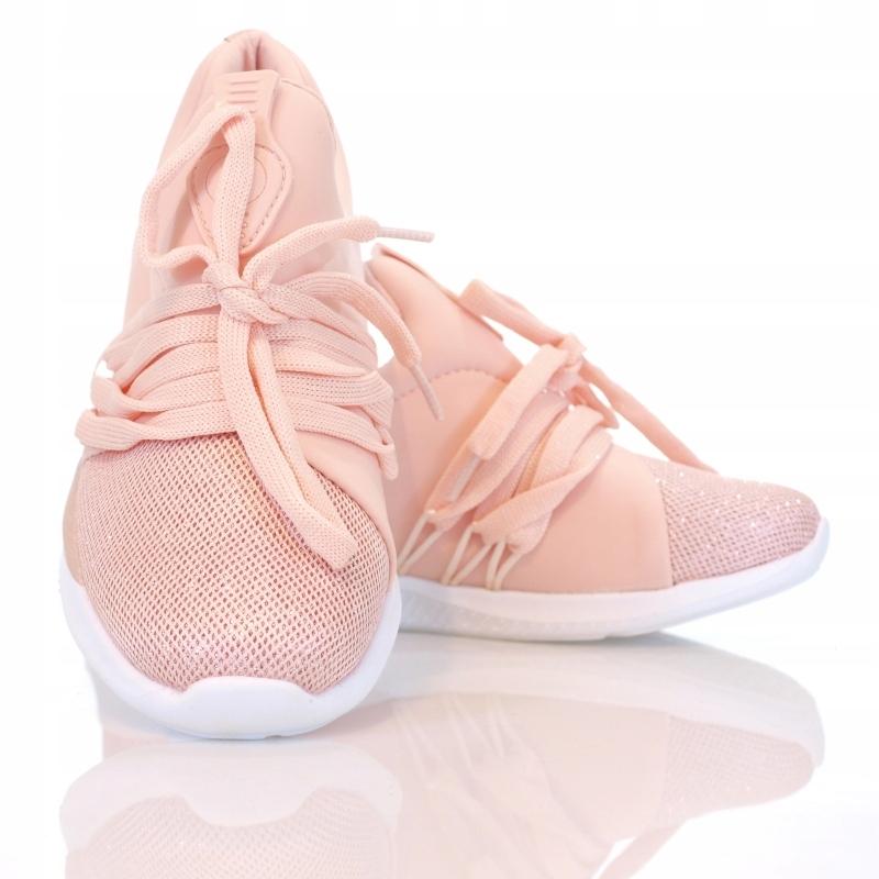 LEKKIE buty sportowe BŁYSK pudrowe 40 7284741181