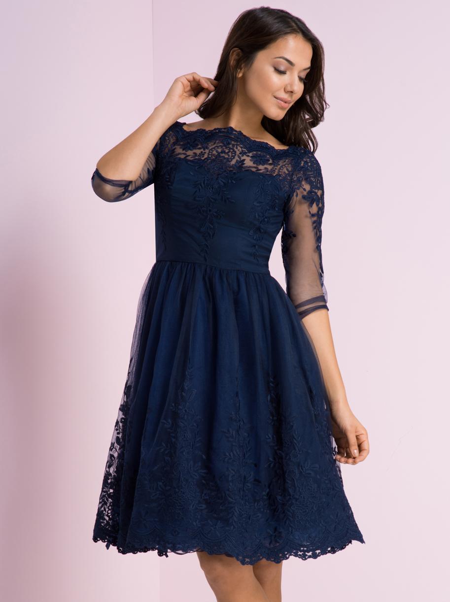 957fd81738 Chi Chi London DARIN koronkowa sukienka granat 40 - 6894565568 ...