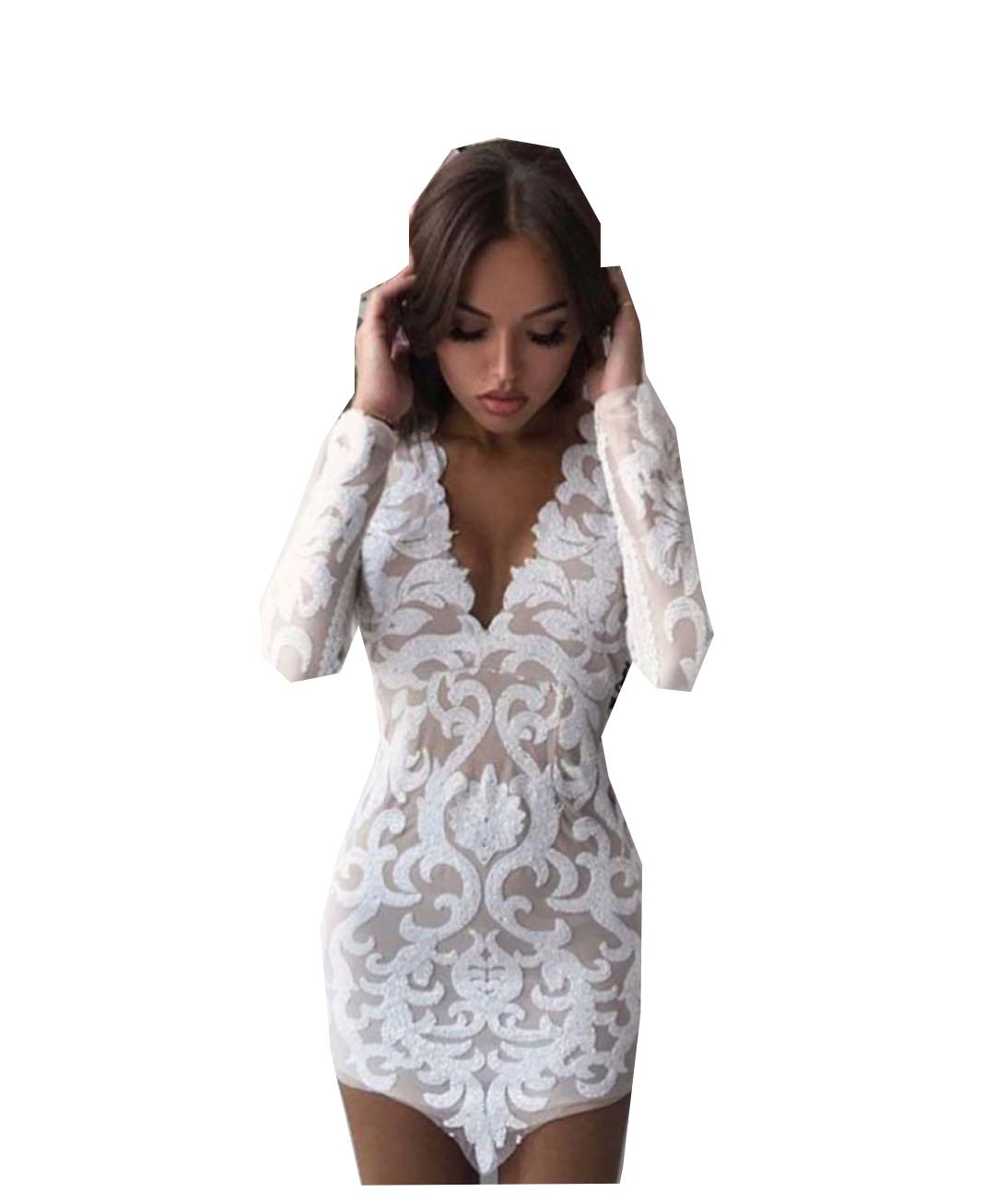 2858a36ba1 Sukienka cekiny biała wzory dekolt S M - 7210114028 - oficjalne ...