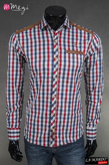 aacc1e36fb330b Modna koszula męska długi rękaw łaty LA MARDO r. L - 7269435144 ...