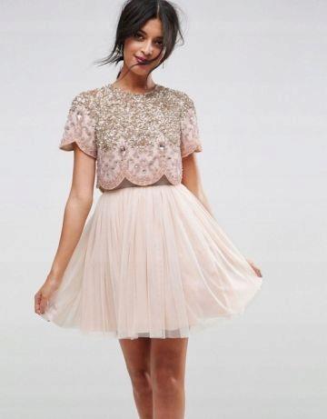 f152309a39 sukienka asos S 36 rozkloszowana tiulowa zdobiona - 7679218910 ...