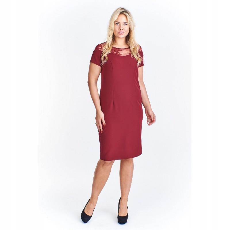 c8609a13 Sukienka z koronkową wstawką przy dekolcie 52 Bord - 7599325976 ...
