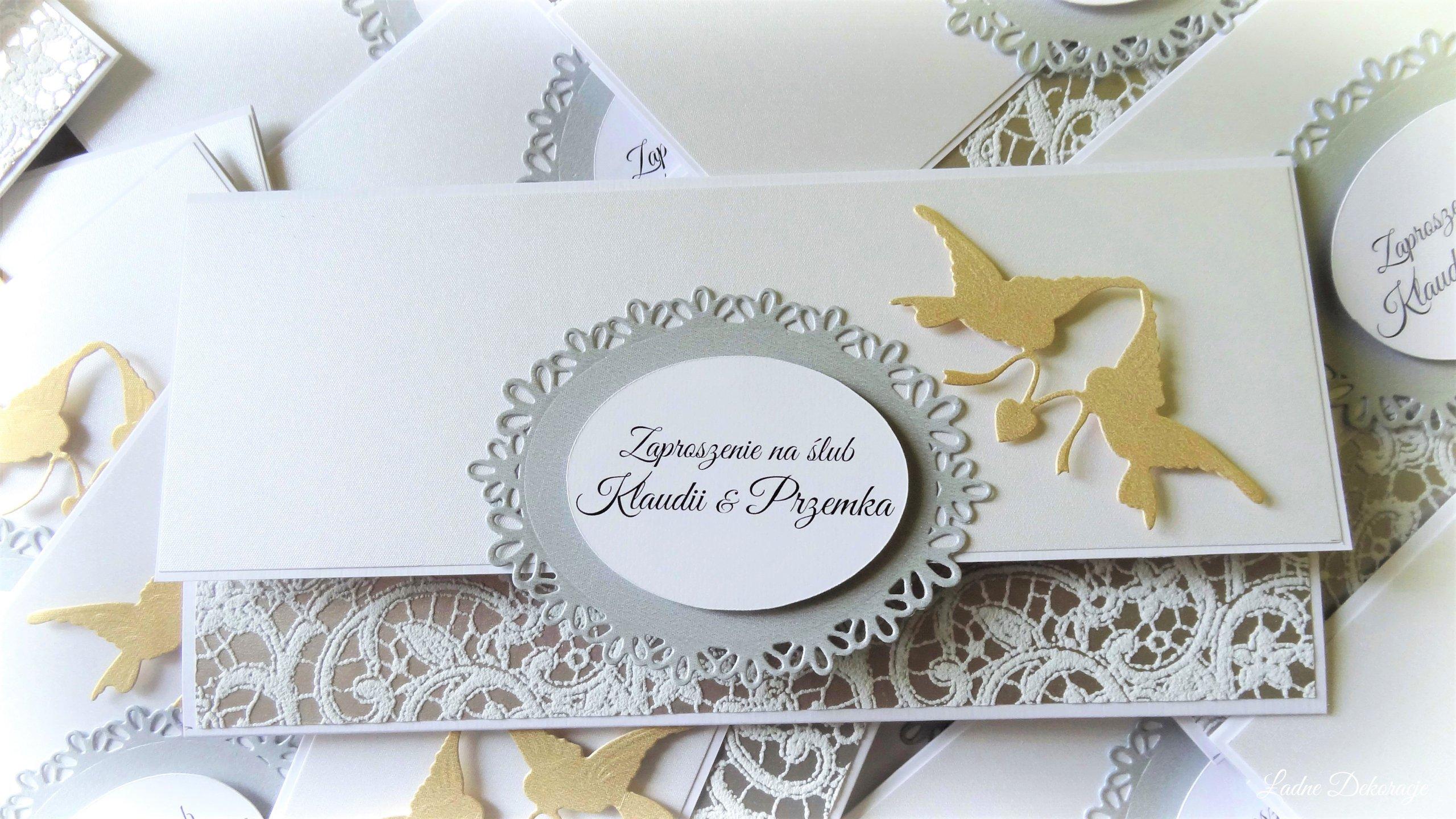Zaproszenia ślubne Złote Gołąbki 7160038995 Oficjalne Archiwum