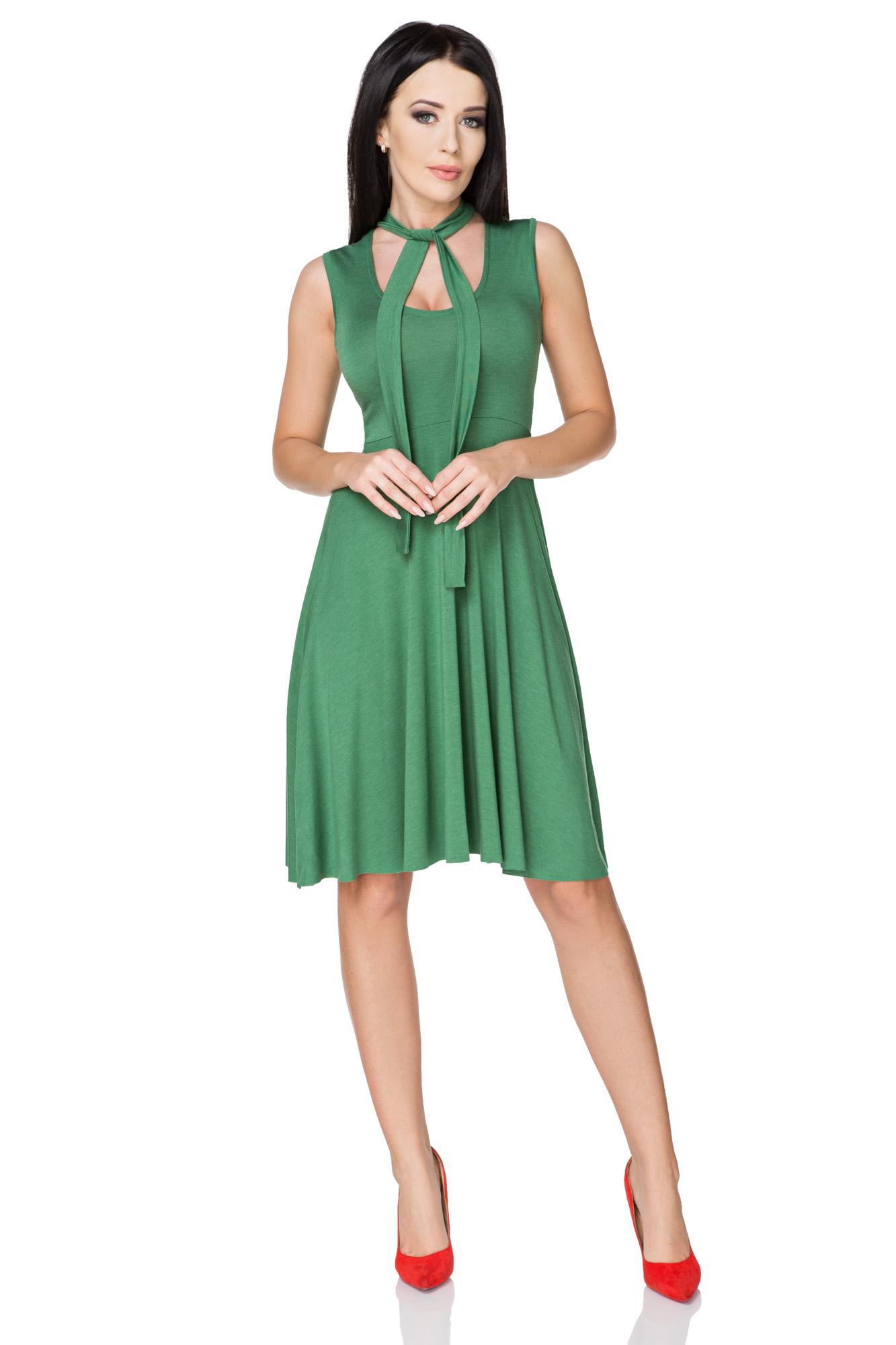 03146c5371 TESSITA Sukienka rozkloszowana wiązana zielony XXL - 7298664305 ...