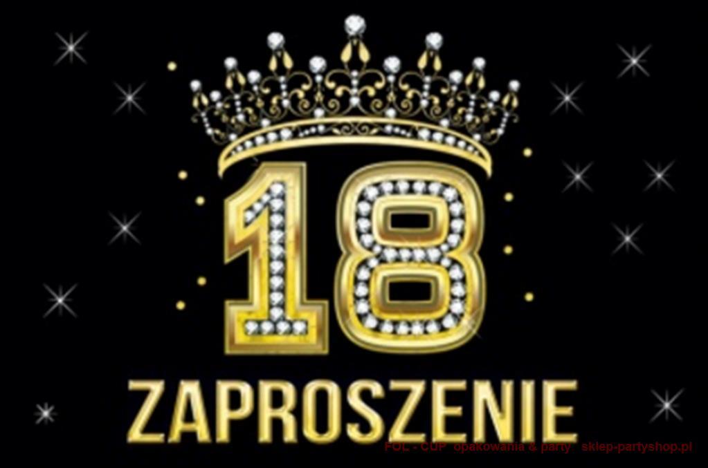 Zaproszenia Na 18 Urodziny Czarne Korona Koperta 6761532776
