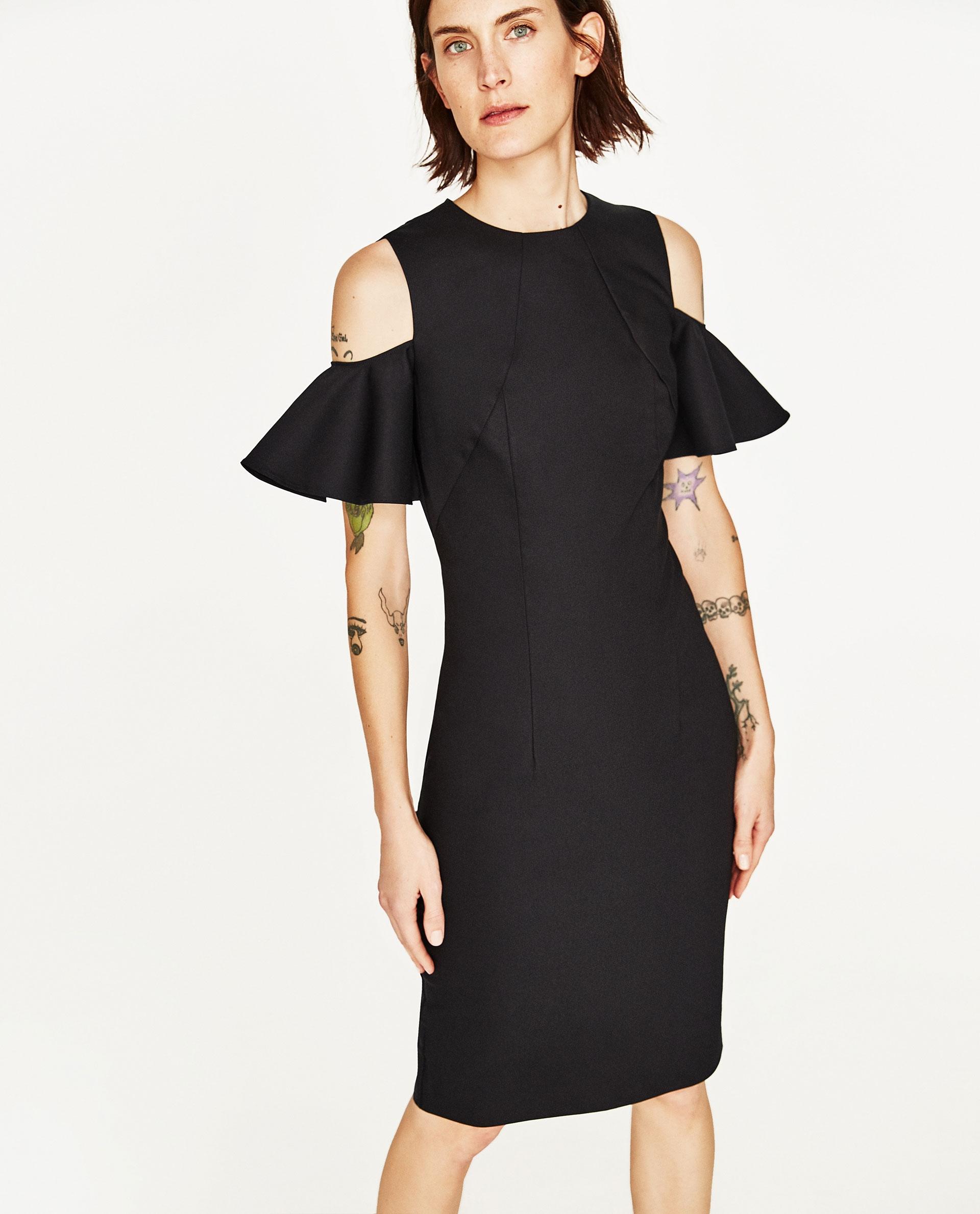 ZARA sukienka 34 XS czerń ołówkowa ramiona WOMAN