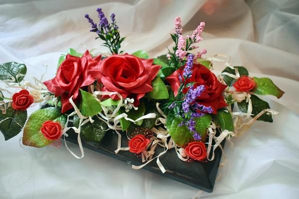 Ns Stroik Na Cmentarz Grób Ikebana Czerwony 7607279572