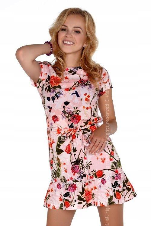 78dab82288 Różowa sukienka z falbanką u dołu krótka mini L 40 - 7553514658 ...