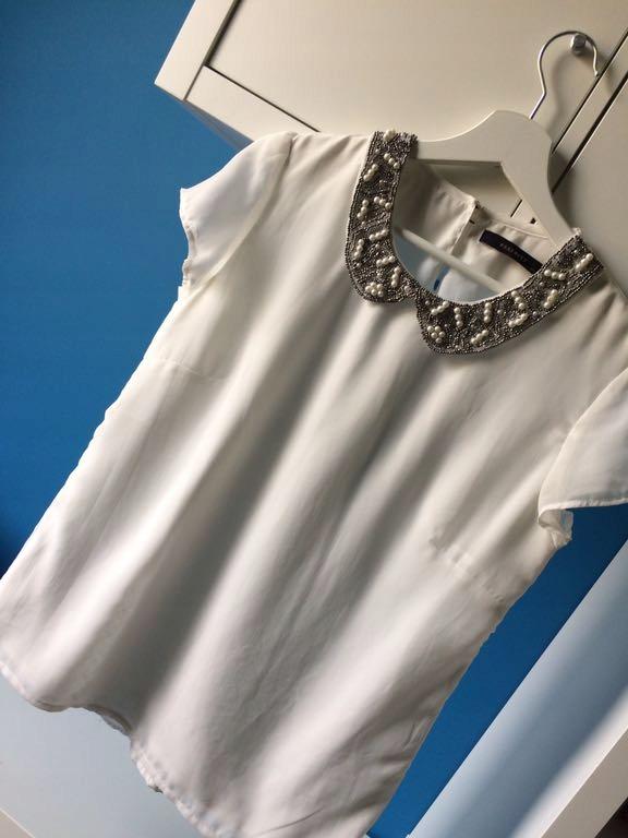 RESERBED 38 M bluzka ecru z ozdobnym kołnierzykiem