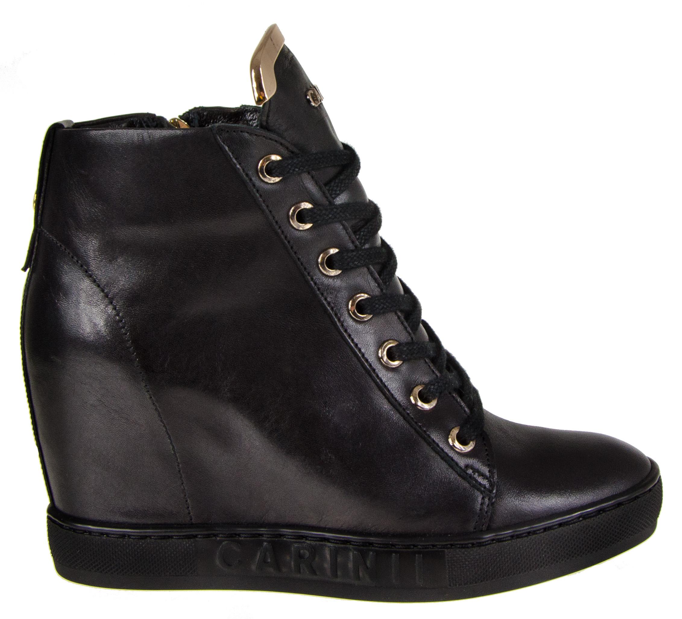238116c31ad5c B4078 Skóra Sneakersy Czarne Botki 7153070714 Koturn Carinii BPqdq