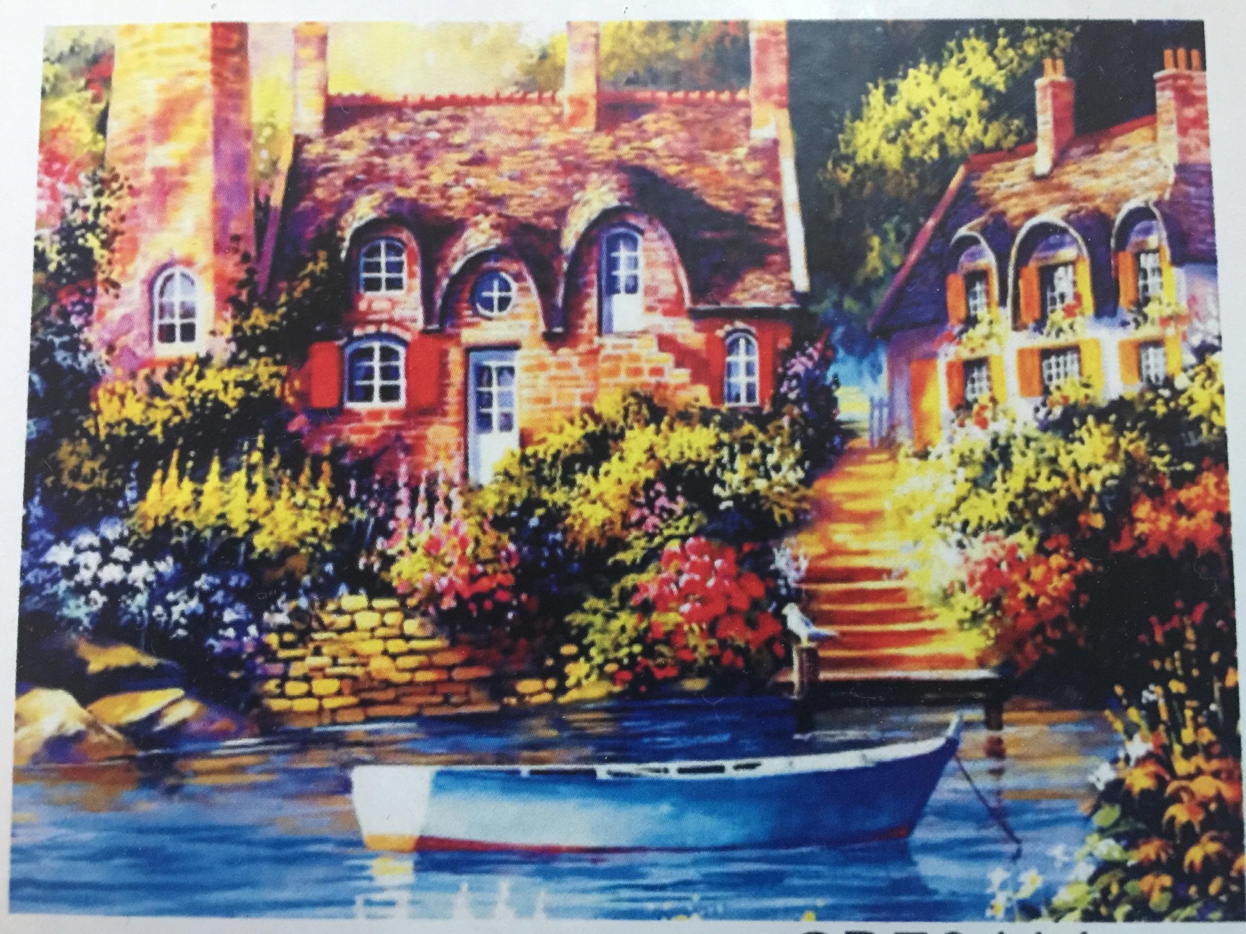 Obraz do malowania po numerach Dom nad jeziorem