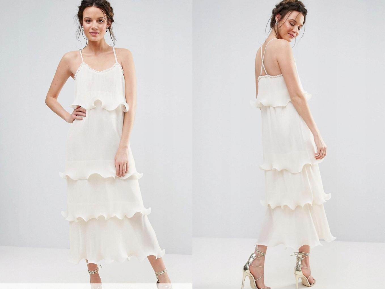 d502ee833 True Decadence Kremowa Sukienka Falbany S/36 - 7486597049 ...
