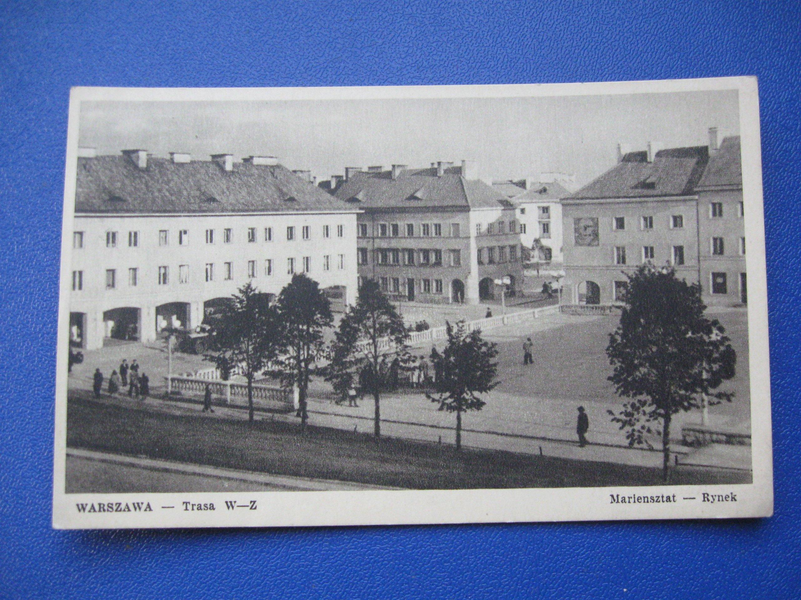 WARSZAWA Trasa W-Z ul Mariensztat Rynek  1956