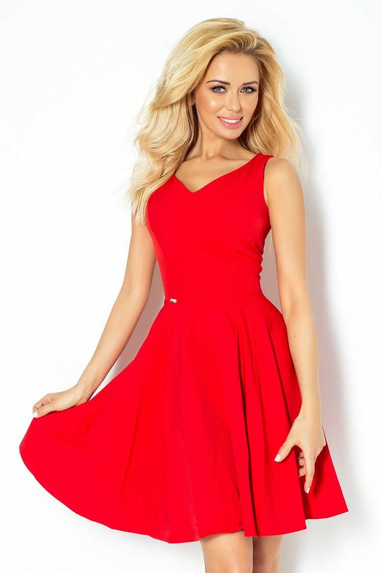 4e10927d3e Numoco rozkloszowana sukienka dekolt serce L - 6880070504 ...
