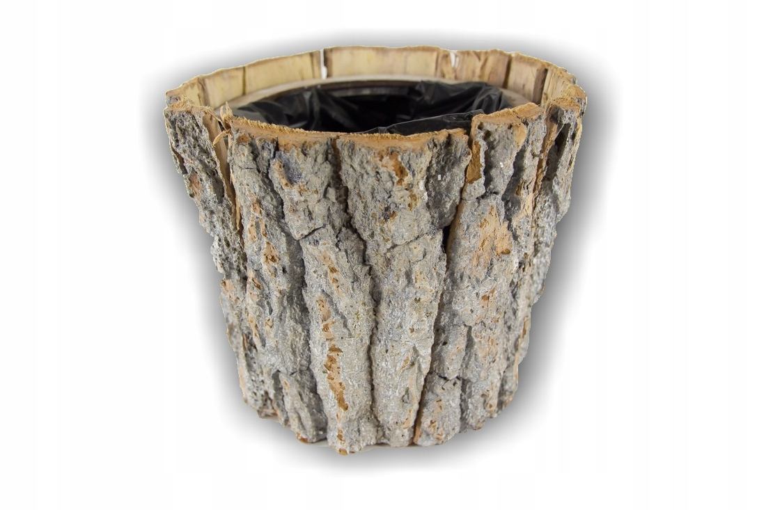 Osłonka Doniczka Drewniana Kora Drzewo 17 Cm 7290083419
