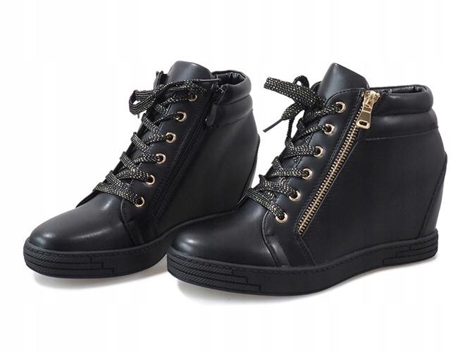 637defab6f9000 Czarne sneakersy ze złotym suwakiem TL-22 41 - 7591682009 ...
