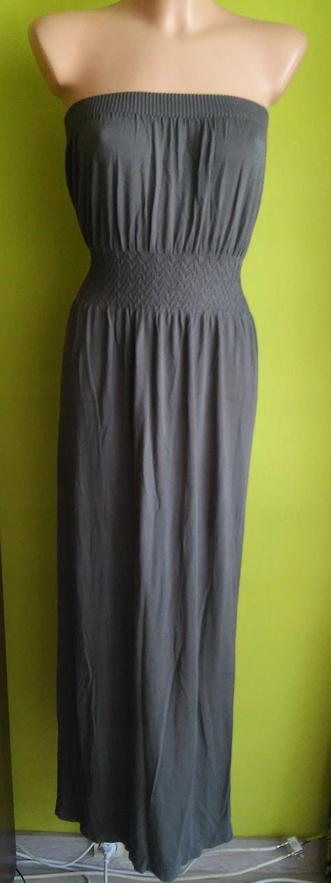 Sukienka długa maxi dresowa khaki OCEANCLUB 36 /38