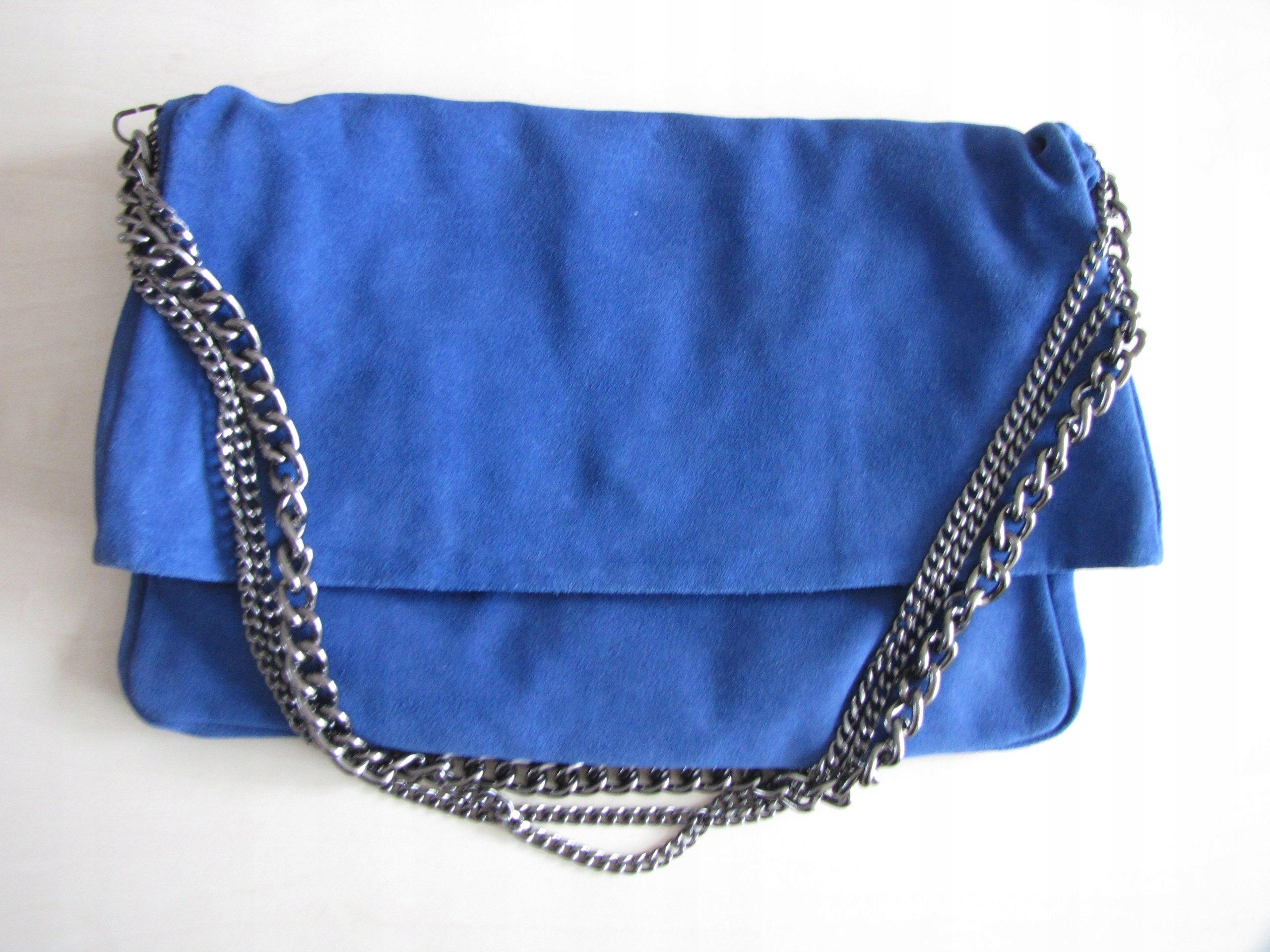 a71589078aac0 ZARA chabrowa torebka zamszowa kobaltowa łańcuchy - 7541994508 ...