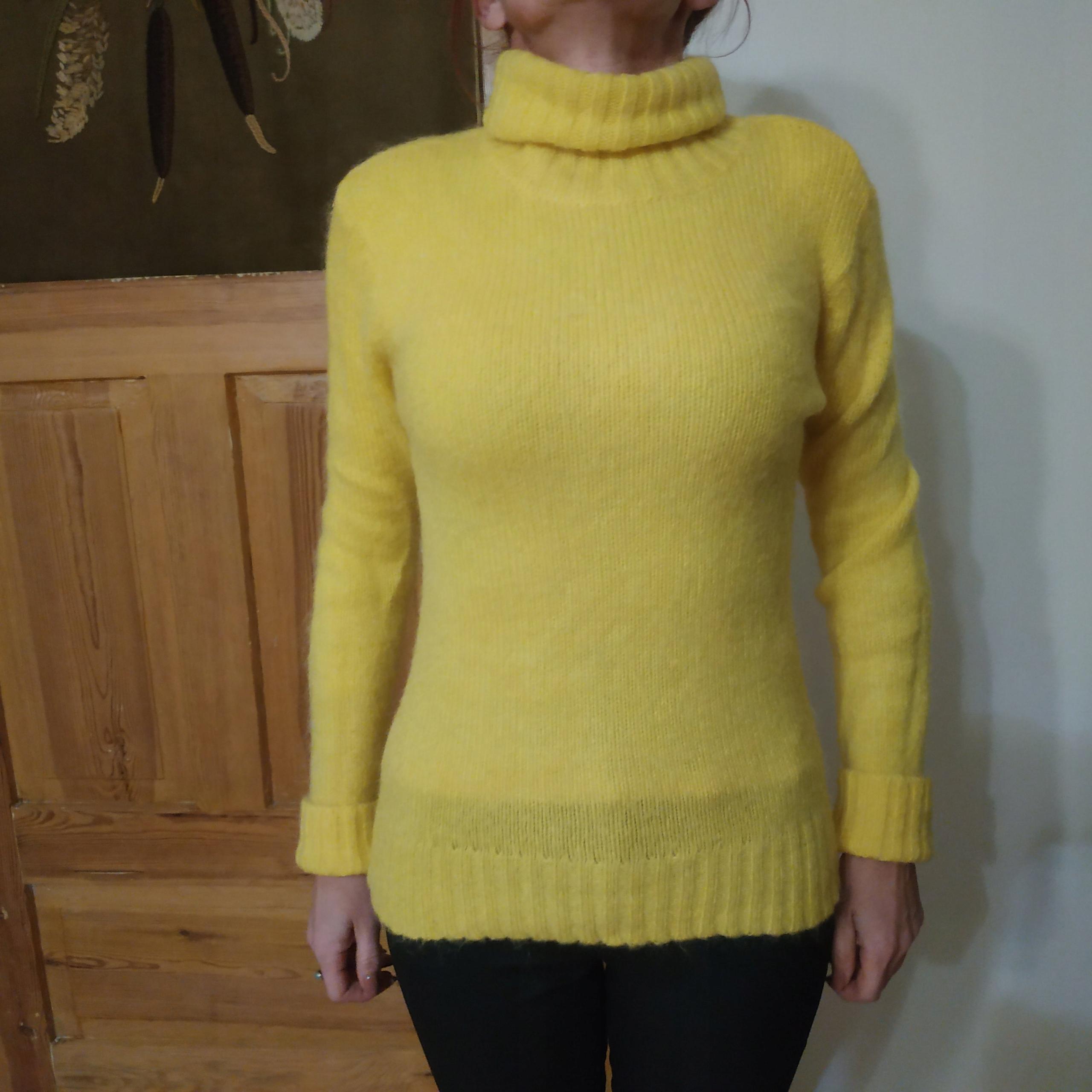 55f73053c181c4 sweter golf M żółty , moher, wełna - 7665479421 - oficjalne archiwum ...