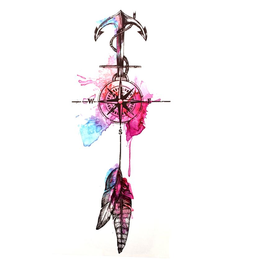 Tatuaż Tymczasowy Zmywalny Kompas Kotwica Pióro 6954665557