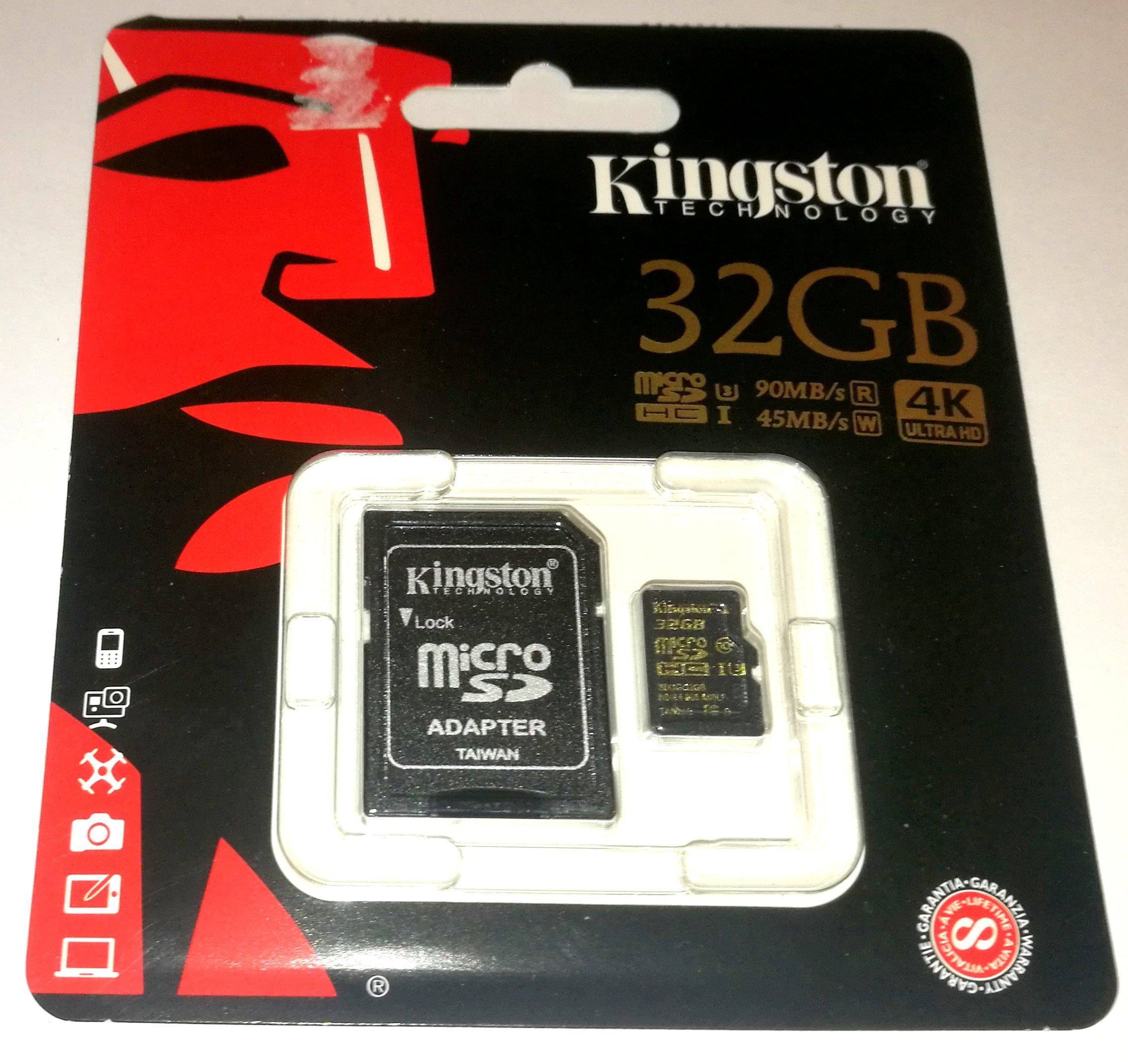 ZŁOTY Kingston KARTA Pamięci MICRO SD 32GB 4K HD
