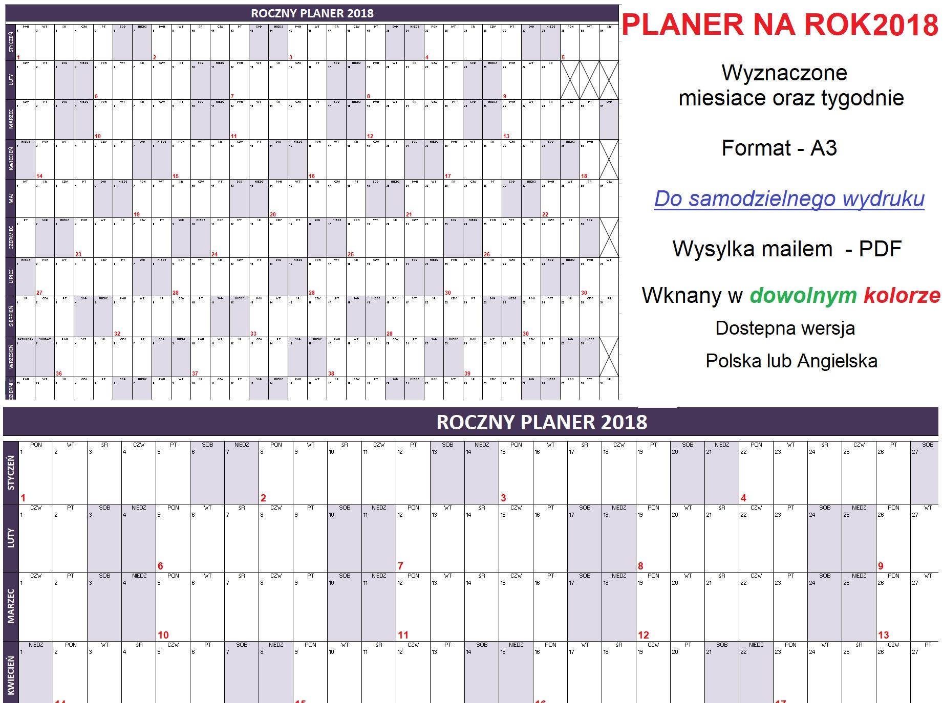 Planer Roczny Z Tygodniami A3 Kaledarz 7167158100 Oficjalne