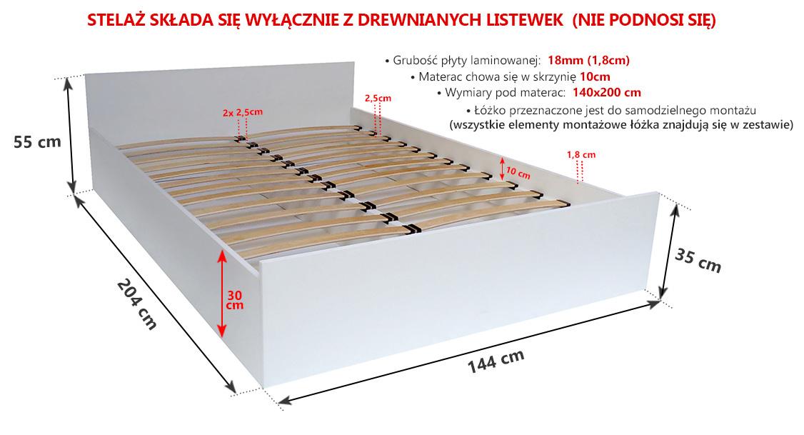łóżko Do Sypialni 140x200 Ze Stelażem Tanio Białe