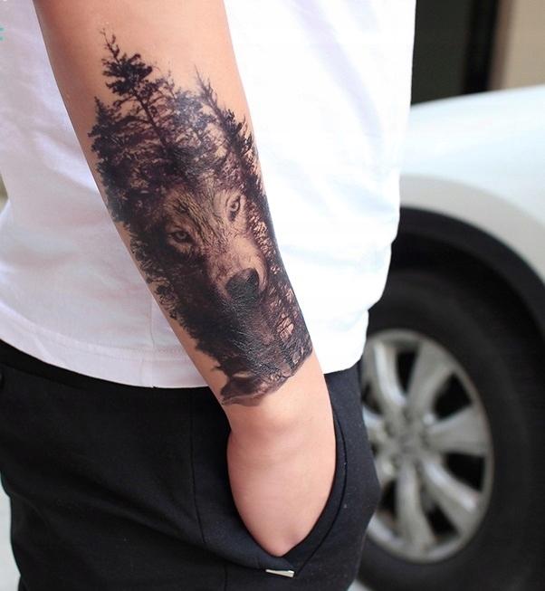 Tatuaż Zmywalny Wilk Las Duży 7503978017 Oficjalne Archiwum Allegro