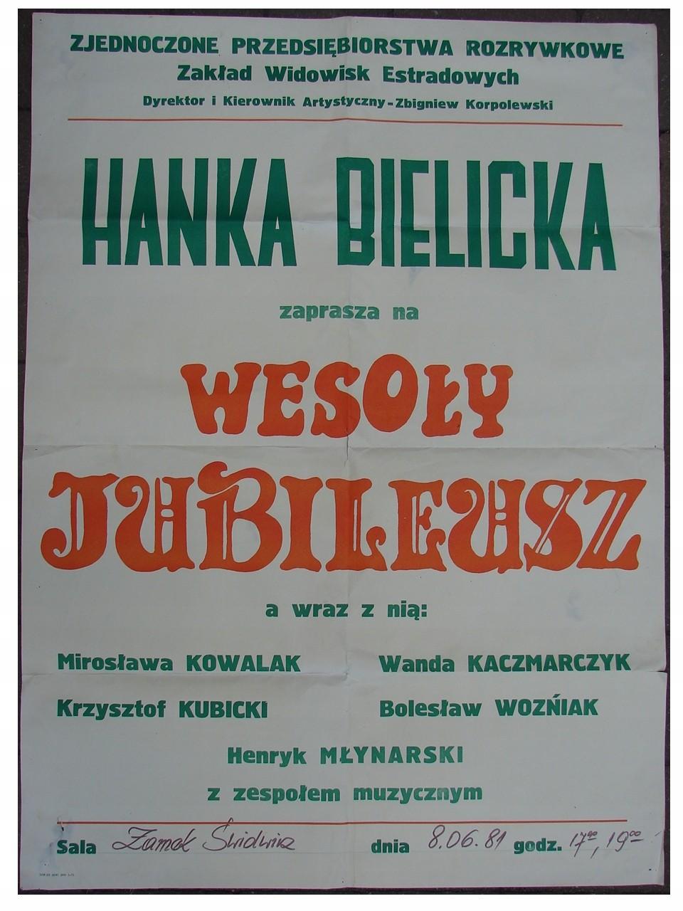 Stary Plakat Afisz Estradowy świdwin Zamek 1981rok
