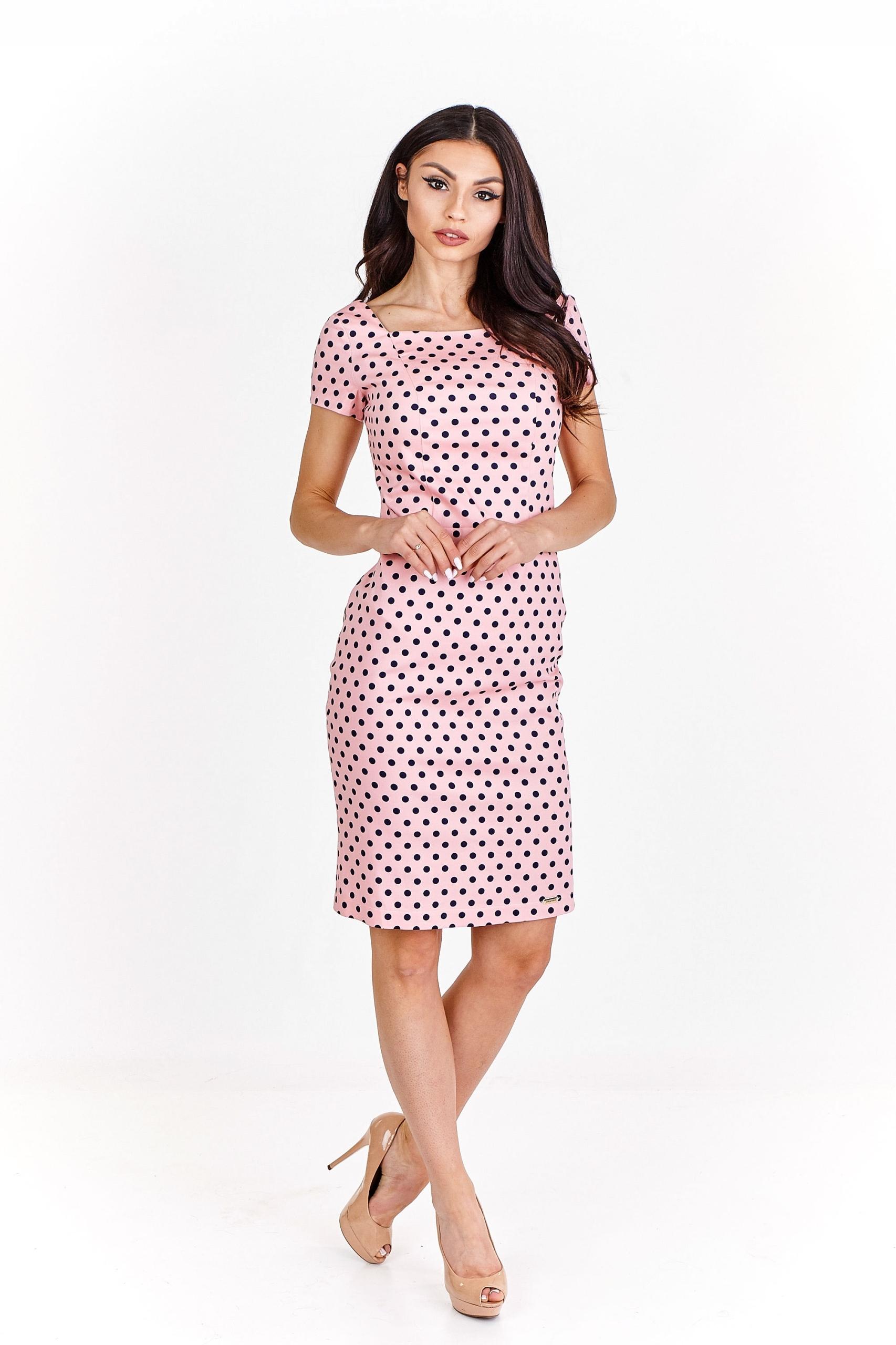 02fe7626f7 Sukienka ołówkowa w grochy z krótkim rękawem XS R - 7475191122 ...