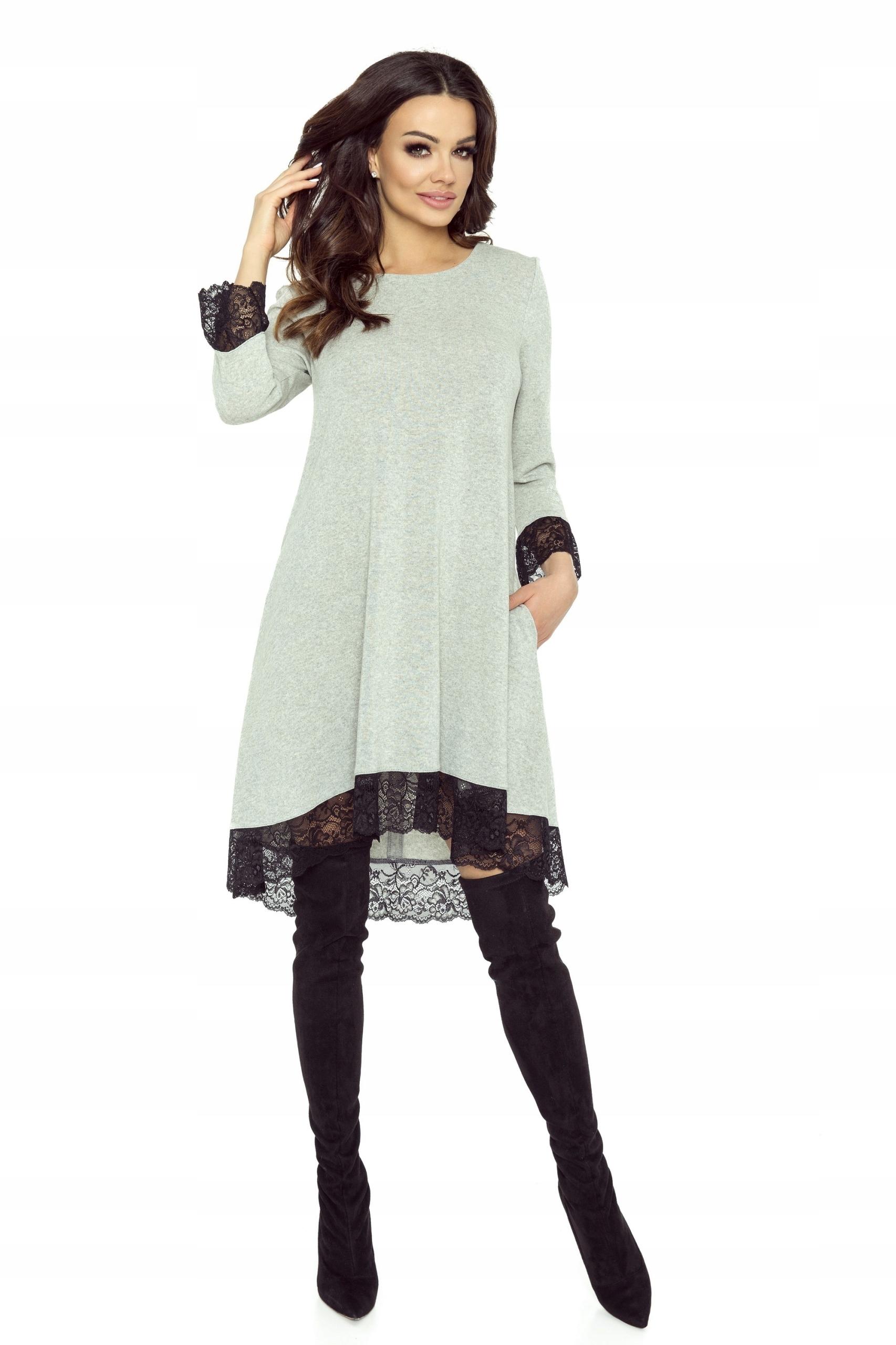 09f92c8712 Trapezowa sukienka z koronkowym wykończeniem Szary - 7444149804 ...