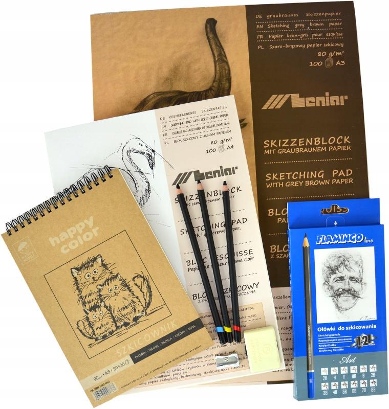 Zestaw do SZKICOWANIA - węgiel szkicowniki ołówki