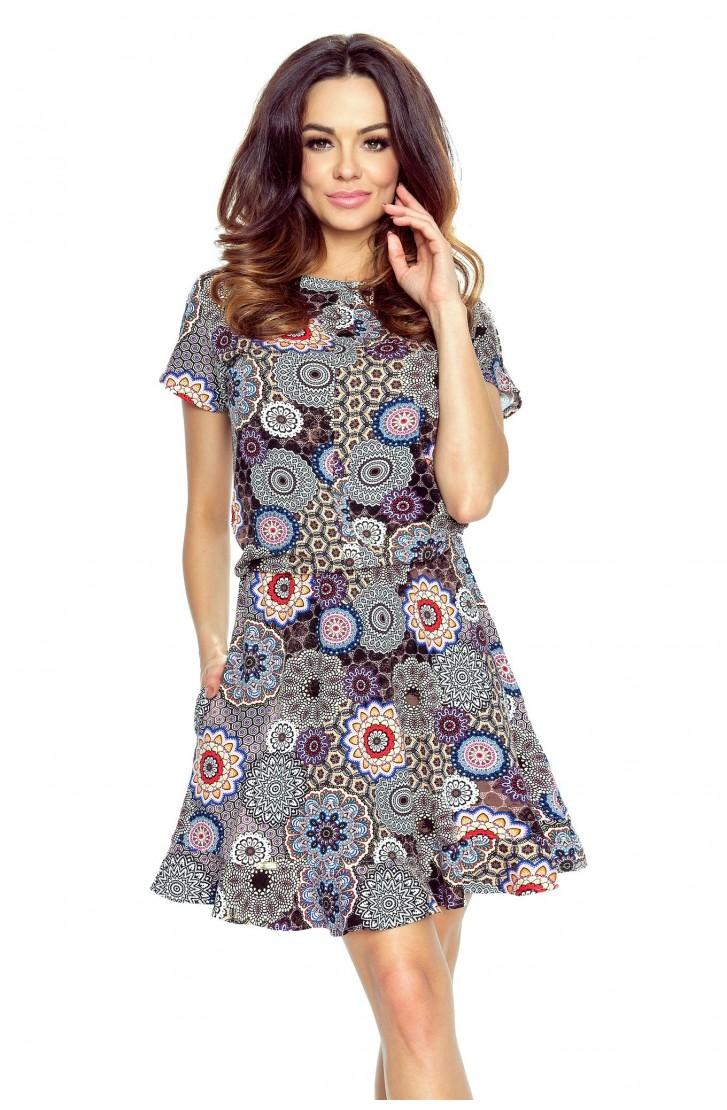 6d47016a02 sukienka rozkloszowana lato wzór krótki rękaw XXL - 7488737758 ...