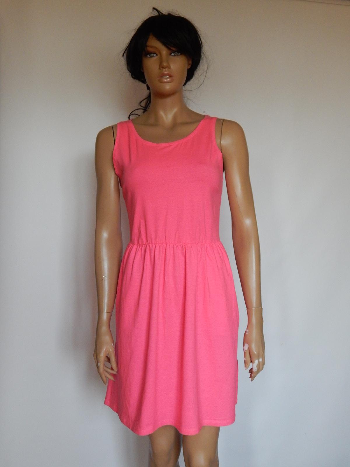01956a6dd0 H M bawełniana sukienka neonowy róż ZIP 40 - 7348957361 - oficjalne ...