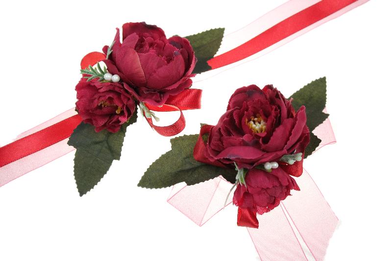 Kotylion Rękę Przypinka Czerwona Studniówka ślub 7008877135