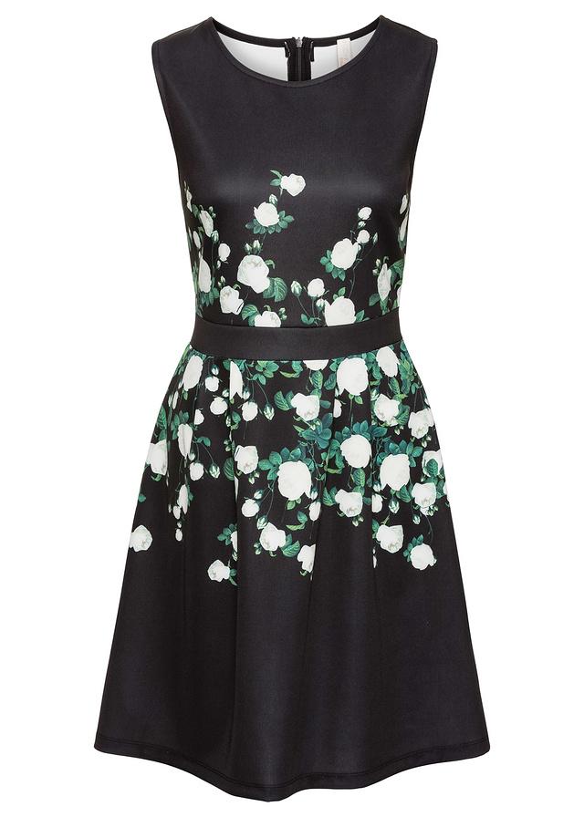 1406b900d6 Sukienka w kwiaty czarny 40 42 L XL 975406 bonprix - 7074875827 ...