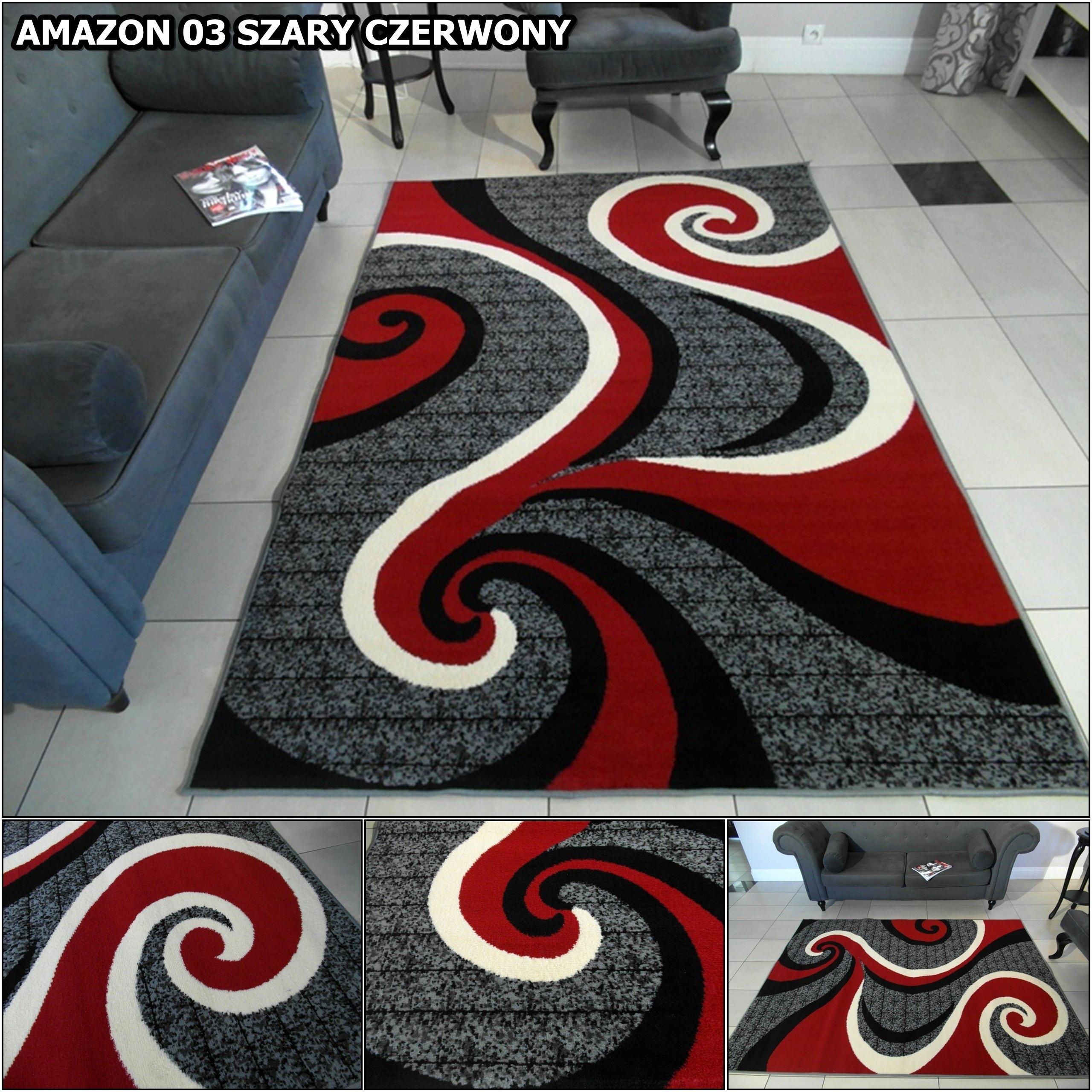 Dywany Bcf Amazon 200x300 Szare Fioletowe Czerwone