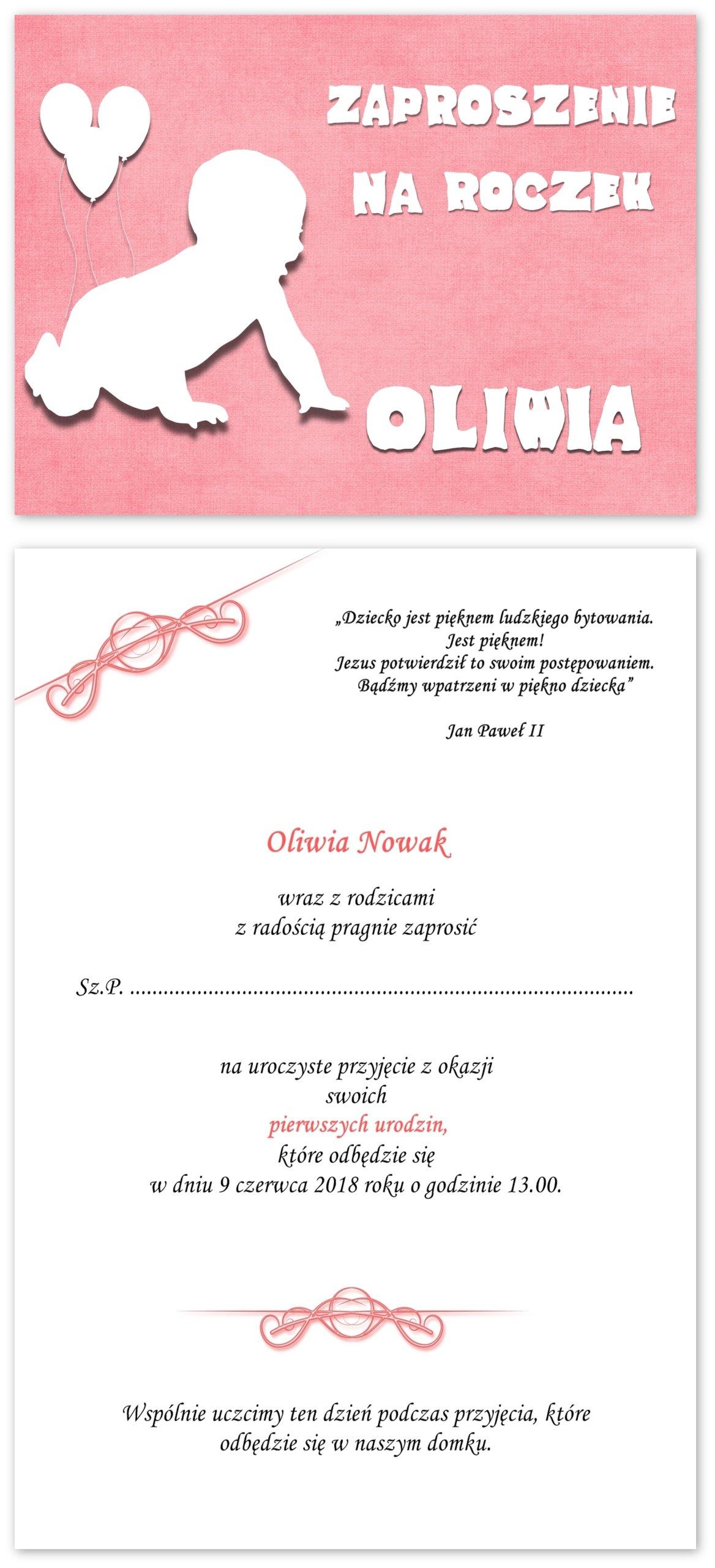 Zaproszenia Na Roczek Urodziny Oliwia Gratis 7350529005
