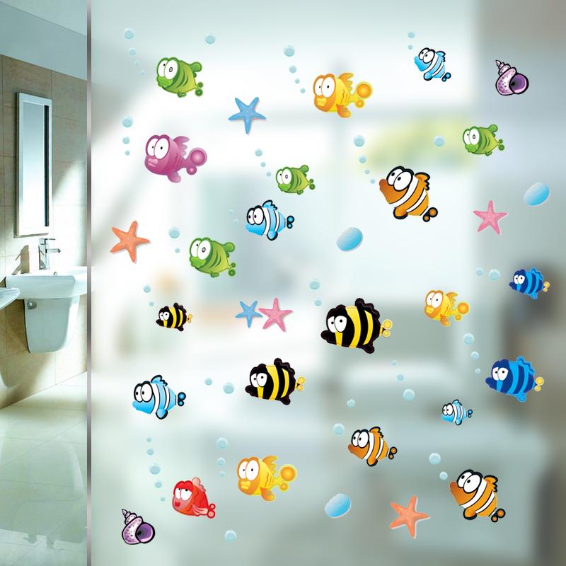 Naklejki Na ścianę Szybę Do łazienki Małe Rybki 6994510697