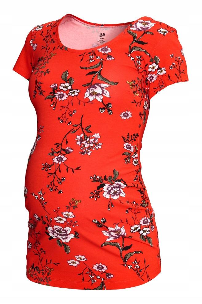 d58e6fd452 H M MAMA bluzka ciążowa czerwona kwiaty XL 42 - 7513671051 ...