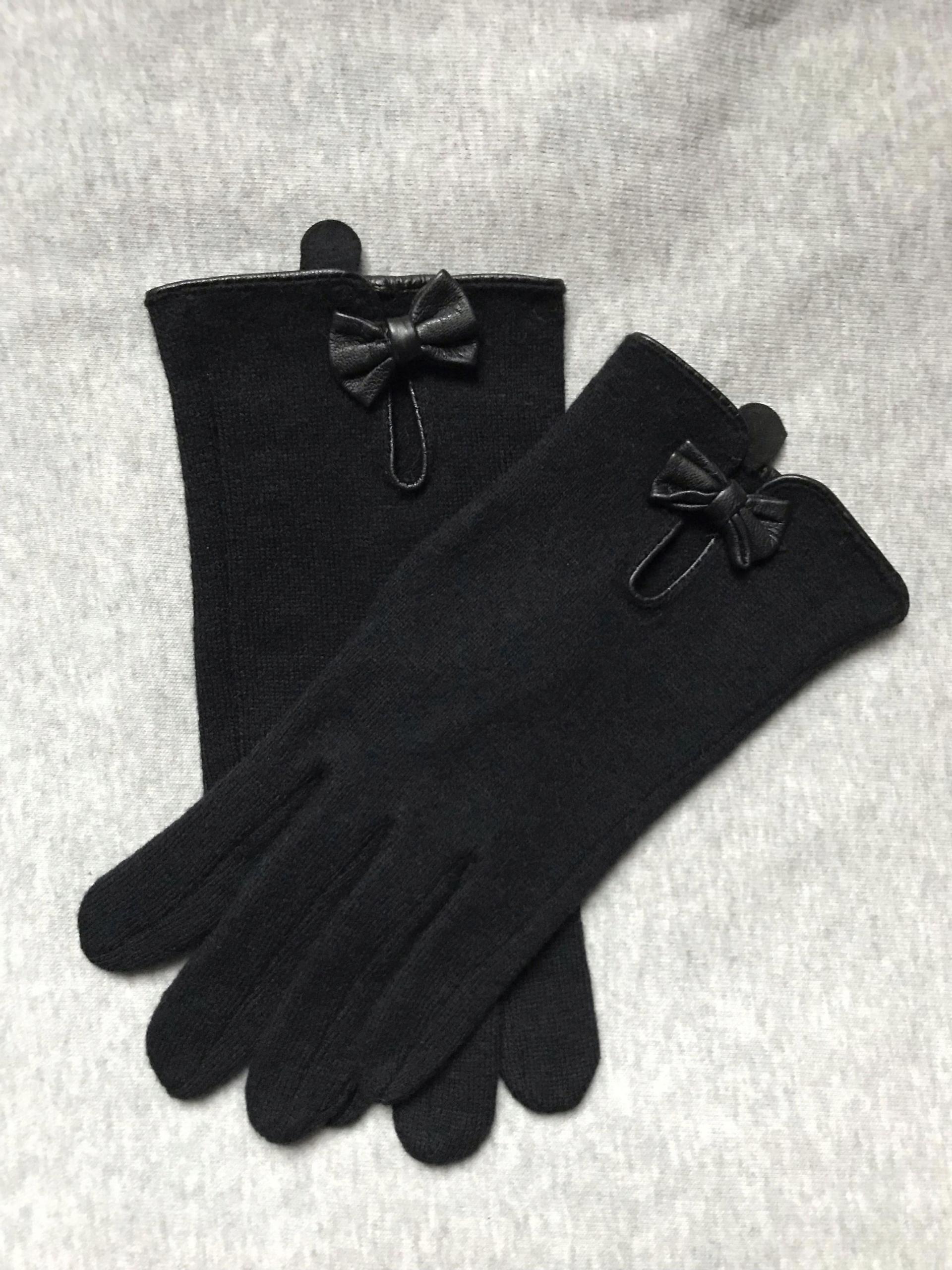 H&M wełniane rękawiczki z kokardą NOWE rozm. L