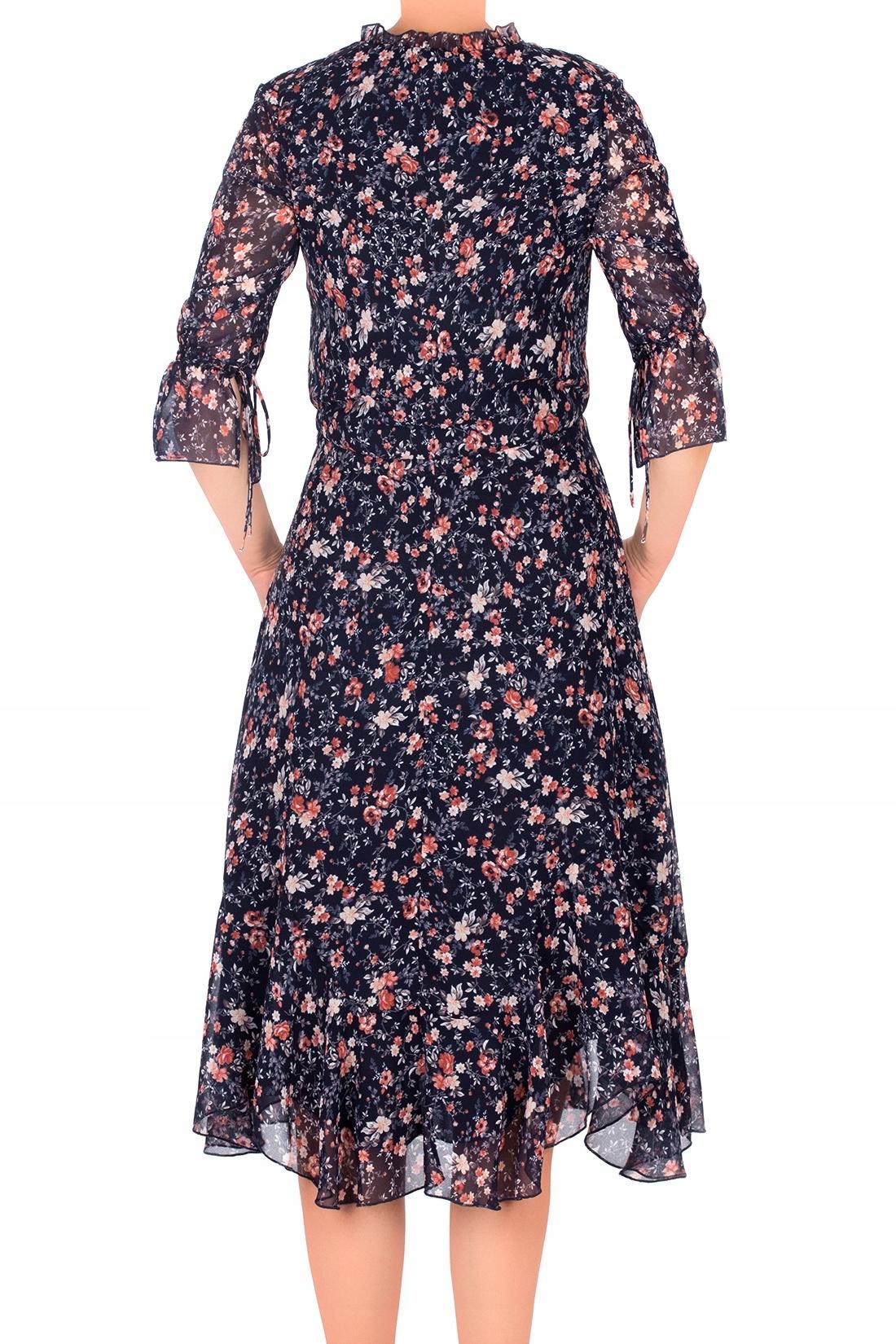 5f4b2a800e Zwiewna sukienka Aluna granatowa w kwiaty 44 MODON - 7475368638 ...