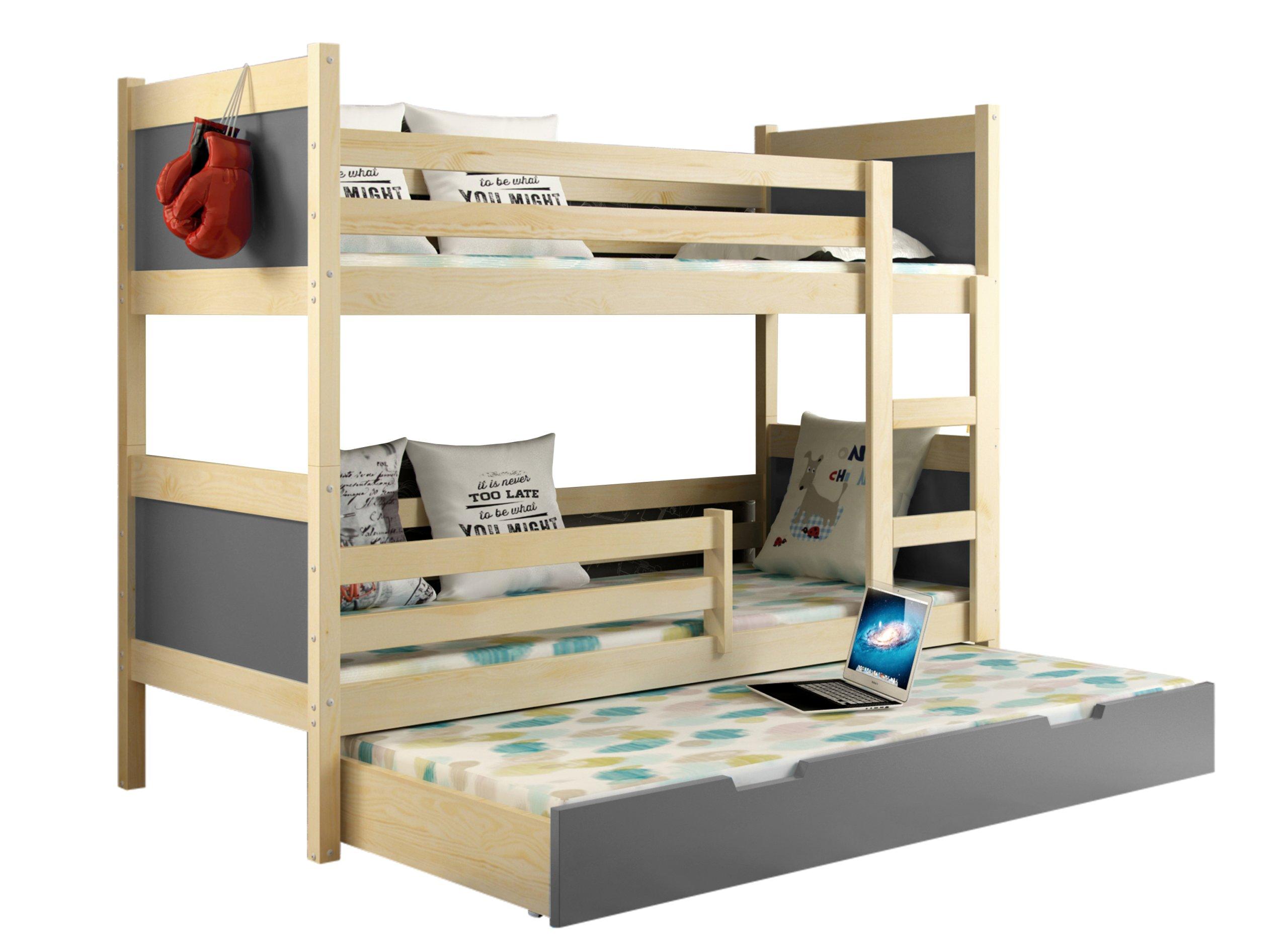 łóżko Piętrowe Leon 185x80 Dla Dzieci 3 Osobowe 6027905467